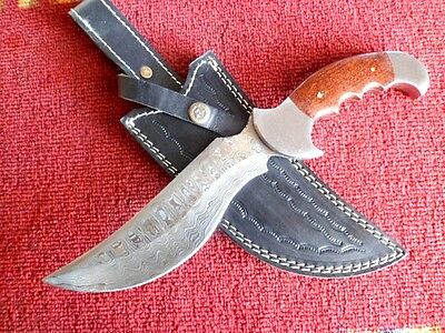Handmade Knives For Sell Damascus Steel Fixed Hunting Knife & Leather Cover