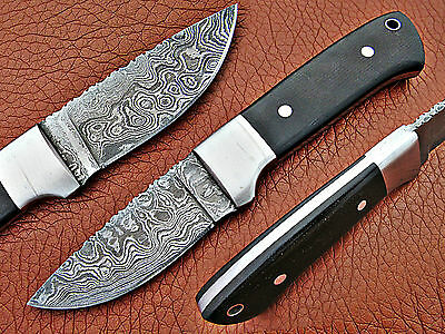 Custom Made Handmade Damascus Steel Fixed Blade Skinner Hunting Knife With Cover