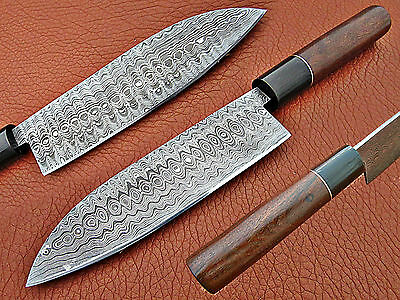 Custom Made Handmade Damascus Steel Fixed Blade Chef Knife With Leather Sheath