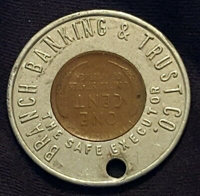 1953 Branch Banking & Trust Co Encased Lincoln Cent Token Unknown Location