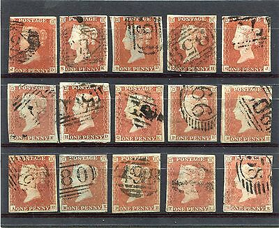 1841 1d SG 8 X15  ALPHABET 1 ALL WITH FAULTS BUT PLATED AND GOOD LOOK AS SCAN