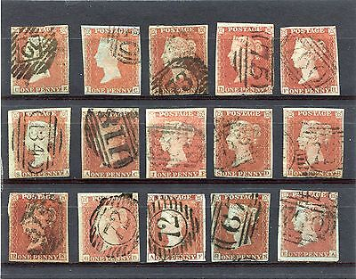 1841 1d SG 8 X15  ALPHABET 2 ALL WITH FAULTS BUT PLATED AND GOOD LOOK AS SCAN