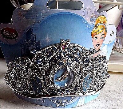 "Disney Authentic Cinderella Crown W/blue Gems & Combs In Back. 2-1/2"" H"