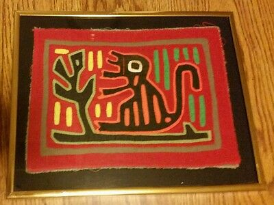 Framed Authentic Mola Handmade San Blas Islands Panama Monkey by the Tree cir80s