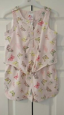Girls pink bufferfly playsuit age 5 6 years