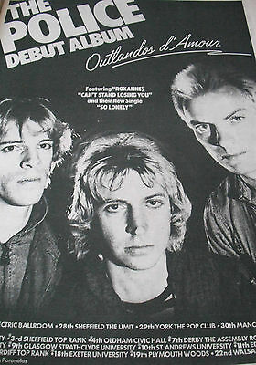 "The Police Debut Album ""outlandos D`amour"" Album  & Tour Dates Advert From 1978"