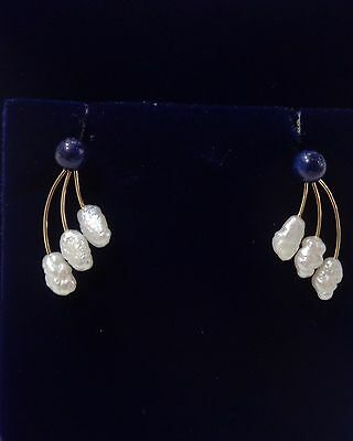 Lapis Lazuli & Freshwater Pearl Drop Earrings in 14ct Gold -Can Be Worn Two Ways