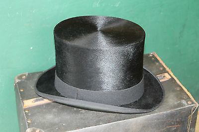 Vintage Top Hat size 7 1/8 black sik British 1950s E Bissingtion