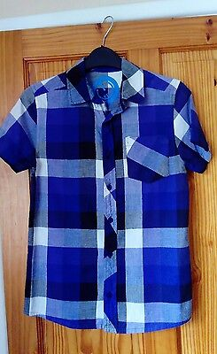 Boys Blue Checked Short Sleeved Shirt, aged 11-12 years, worn once