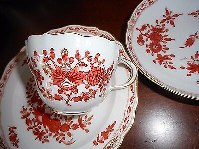 Vintage  Germany  Teacup and Saucer with Plate Three Piece Set MINT RED MARKED