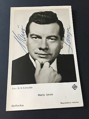 MARIO LANZA († 1959) In-person 1958 signed Autogrammkarte 9 x 14 Rarität !