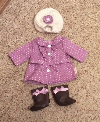 American Girl Doll Bitty Baby Twins Purple Outfit Dottie Coat + Boots & Hat