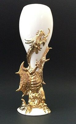 "1 White with Gold Dragon Faerie Theme Ceramic Wine Goblet Chalice Cup 8.5 "" Tall"