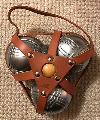 RARE & collector PETANQUE SET by HERMES Paris LEATHER STRAP year 2003