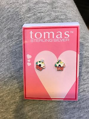 Tomas Nordstrom Girls Cupcake Sterling Silver Earrings Nwt