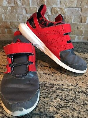 Adidas Toddler Boy's Athletic Shoes Gray And Red Size 12