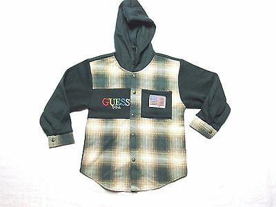 VTG GUESS USA hoodie button shirt long sleeve DEADSTOCK SHADOW PLAID YOUTH 7-8