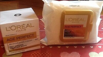 L'oreal Age Perfect Re - Hydrating Day Cream Plus Cleansing Wipes ( Airtight Lid