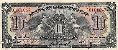 México 10  Pesos  1.4.1936  P 30  Series J Prefix A  Circulated Banknote