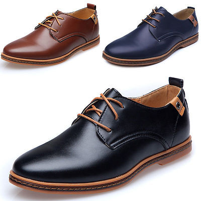 Mens Smart Artificial Leather Lace up Formal Oxfords Casual Work Shoes UK 6-11