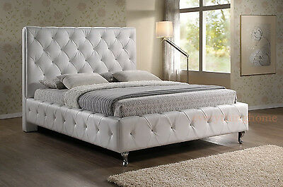 Queen Or King Modern White Faux Leather Padded Crystal Tufted Platform Bed Frame