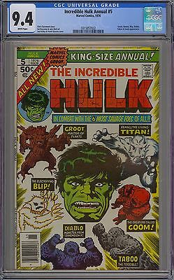 Incredible Hulk King-Size Annual #5 CGC 9.4 NM Wp 2nd Groot GOTG Marvel 1976 Gem