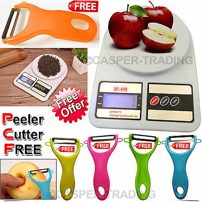 10Kg Digital LCD Electronic Kitchen Weigthing Scale With Free Peeler Cutter Tool