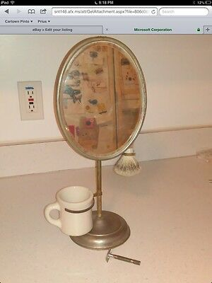 Antique Vintage  Shaving Mirror on Stand Complete Brush, Razor  & Cup