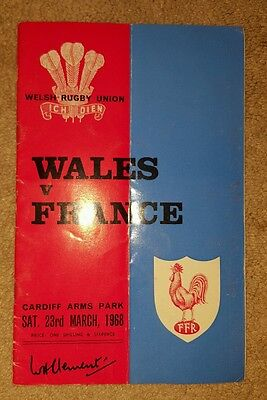 wales v France 1968 rugby union programme