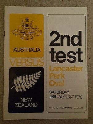Australia v New Zealand 1978 rugby union programme