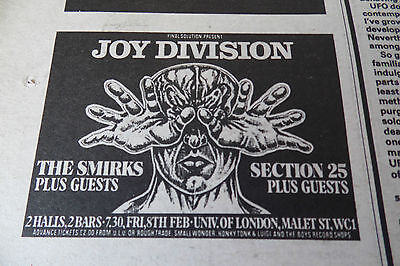 Joy Division Gig Advert With The Smirks At Uni Of London 1980 Original Advert