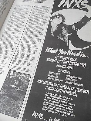 "Inxs 1985  Gig Advert & ""what You Need Is"" Nearly 1/2 Page. Comes On A Full Page"