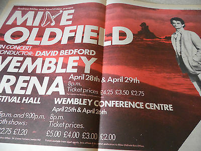 Mike Oldfield Wembley & Royal Festival Hall Gig Advert Double Page A2 1978