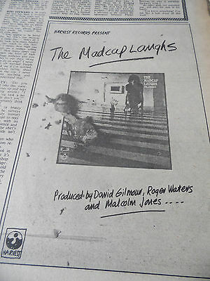 "Pink Floyd`S SYD BARRETT ""THE MAD CAP LAUGHS""  ADVERT FROM 1974 quarter  PAGE"