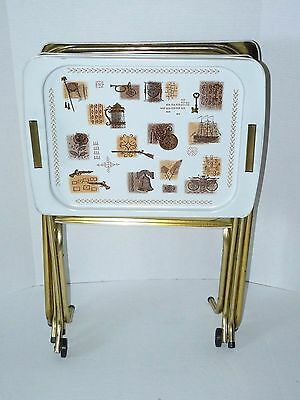 Set of 5 Cal Dak Metal TV Trays 4 Trays w/ Stands & 1 Serving Tray