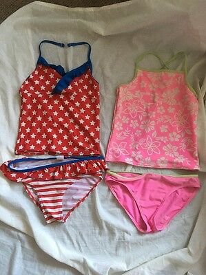 Pack Of 2 11-12 Year Tankini. Stars Flowers. Frill. Red Blue Pink