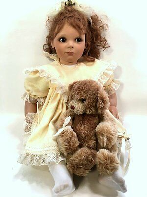 V.E. TUNRER no. 25/300 GRINNING BABY GIRL WITH BEAR **LISTING DOLL COLLECTION