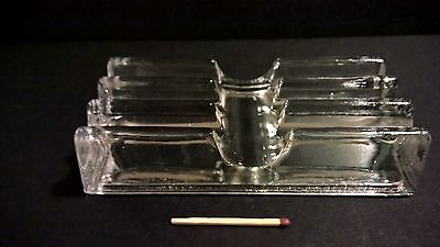 Antique pressed moulded clear glass desktop fountain pen holder paper weight EXC