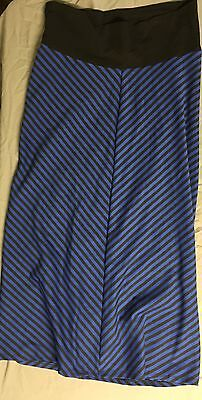 Planet Motherhood Striped Blue Black Long Skirt Band Made In USA Size XL 16/18