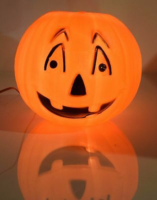 Vintage Halloween Plastic Light Up Blow Mold Pumpkin Jack-O-Lantern