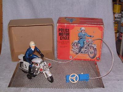 Vintage Masudaya Battery Operated Police Motorcycle Fully Working W/box. Sweet!!