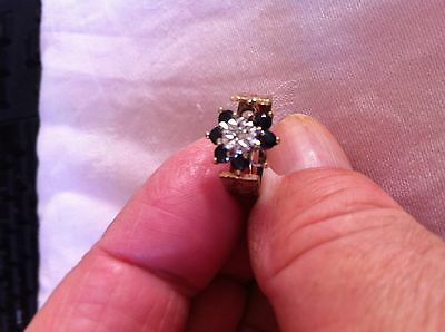 Sapphire And Diamond Ring, Vintage Ring, Size M/n, Hallmarked, 9Ct,