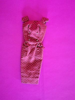 Vintage 1960's Original Barbie Sheath with Gold Buttons - Dark Red