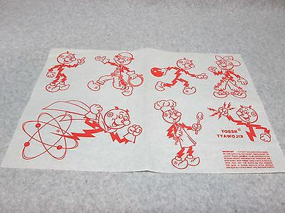 Unopened 1960's REDDY KILOWATT  7-POSE IRON-ON TRANSFER SHEET MiNt-Sealed-In-Bag