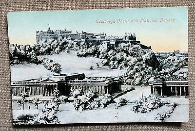 Edinburgh Castle and National Gallery In The Snow - edwardian