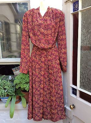 Vintage 1980's Alexon Skirt & Blouse Two Piece Suit Size 16
