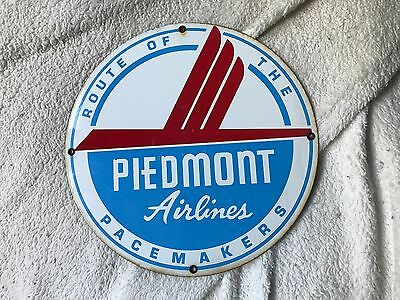 Vintage Piedmont Airlines Porcelain Aircraft Sign-Route Of The Pacemaker