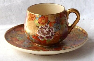 C19Th Japanese Satsuma Hand Painted Coffee Cup And Saucer With Flowers  A/f