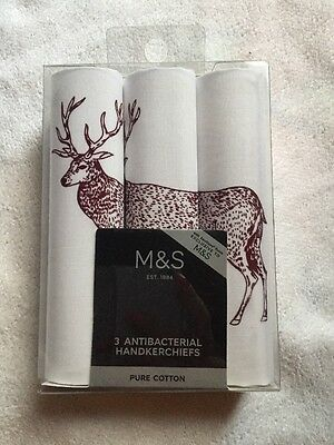 Marks And Spencer's M&S Handkerchiefs Men's Deer Pure Cotton New Unused Boxed.