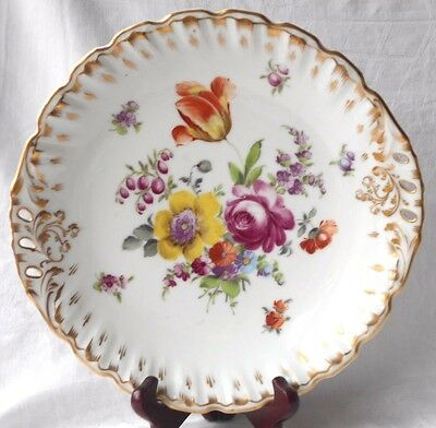 Late C19Th Grossbaum And Sohne Hand Painted Dish Decorated With Flowers